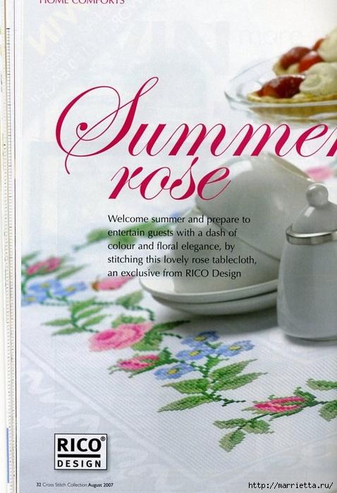 Вышивка на салфетке - розы и незабудки (2) (478x700, 242Kb)