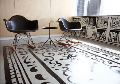 Ручная роспись деревянного пола. Идеи (28) (400x281, 106Kb)