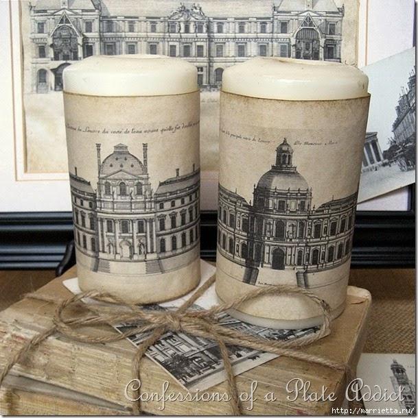 Ретро свечи с изображением архитектуры Парижа. Шаблоны для распечатки (6) (609x610, 264Kb)