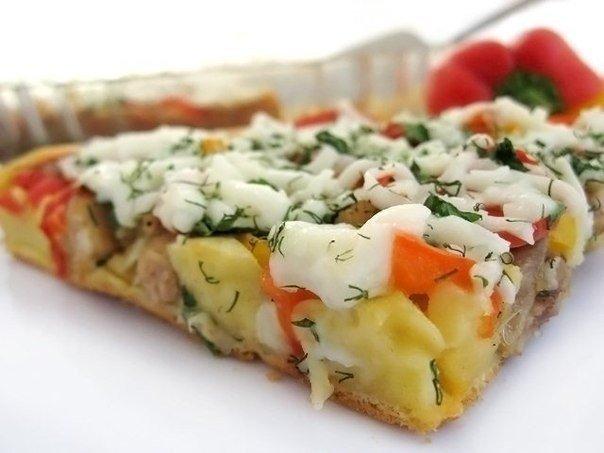 Открытый пирог с курицей и болгарским перцем (604x453, 40Kb)