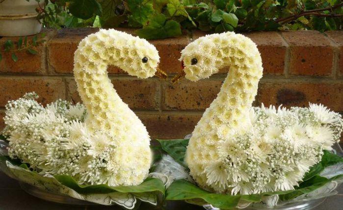 Лебедь из цветов мастер класс