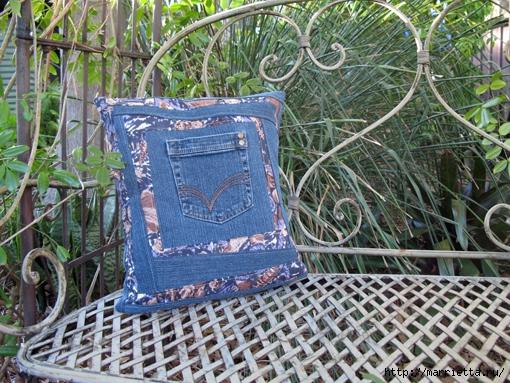 Подушка из джинсов для садовой скамейки (10) (510x383, 257Kb)