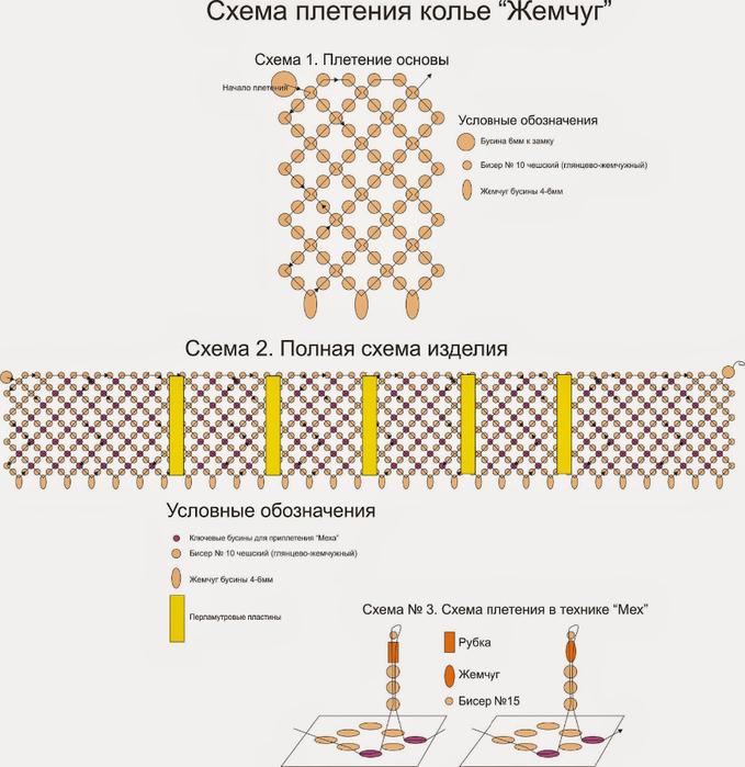 Колье из жемчуга и бисера своими руками схемы плетения 58
