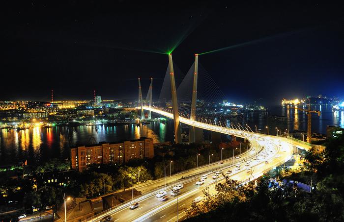 красивое фото Владивостокского моста, ночной Владивосток фото,/4682845_ (700x453, 353Kb)
