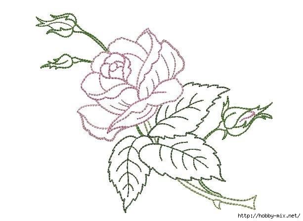 Вышивка гладью рисунки розы