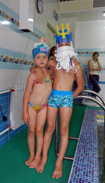 фото день Нептуна в детском саду, праздник в бассейне, фото дети в бассейне, маска Нептуна,