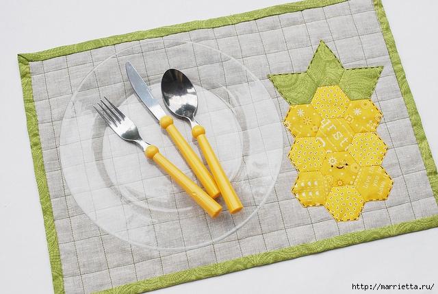 Стеганая салфетка с аппликацией ананаса. Лоскутное шитье (8) (640x429, 207Kb)