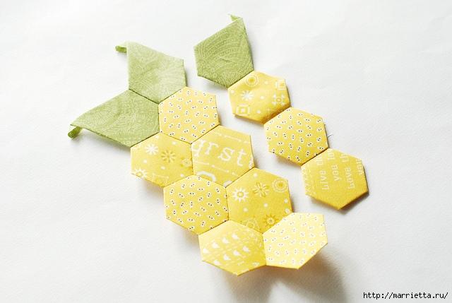 Стеганая салфетка с аппликацией ананаса. Лоскутное шитье (33) (640x429, 140Kb)