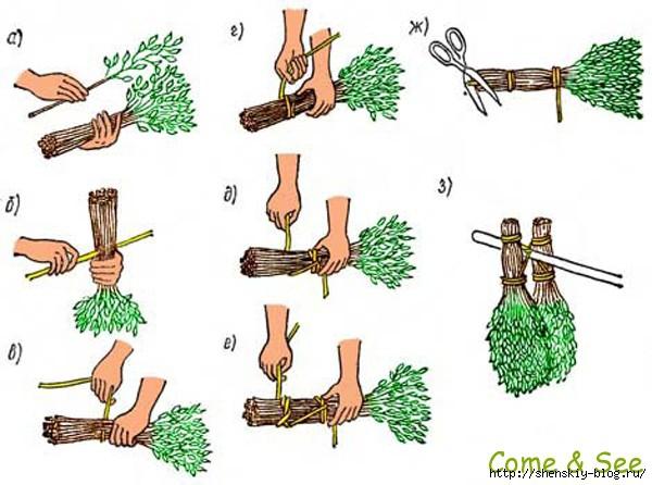 Как вязать веники своими руками