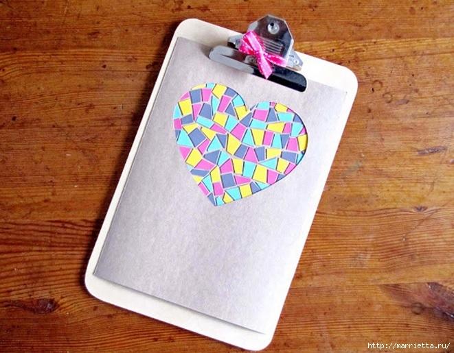 Открытка с сердечком. Мозаика из цветного картона (1) (661x515, 235Kb)