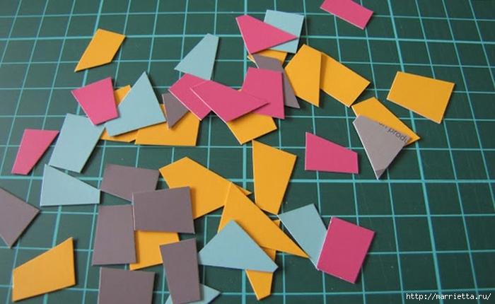 Открытка с сердечком. Мозаика из цветного картона (3) (700x430, 203Kb)