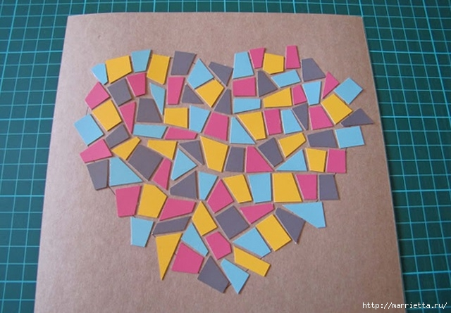 Открытка с сердечком. Мозаика из цветного картона (5) (640x445, 171Kb)