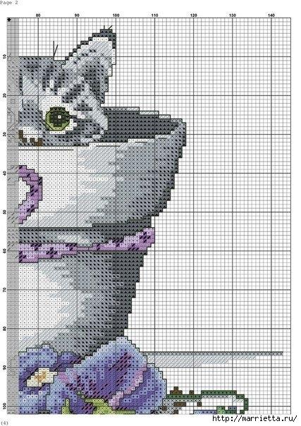 Схемы вышивки - котенок в кружке и в горшочке (3) (427x604, 220Kb)