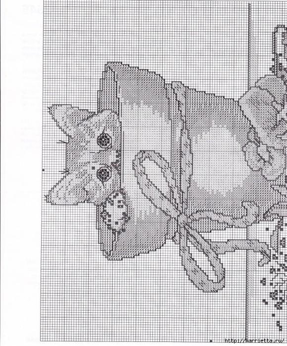 Схемы вышивки - котенок в кружке и в горшочке (7) (580x700, 374Kb)