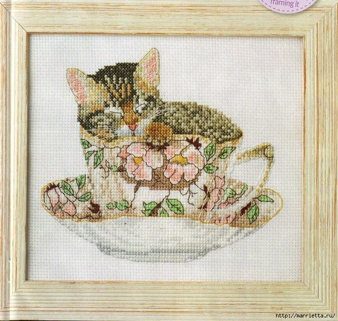 Схемы вышивки - котенок в кружке и в горшочке (9) (683x649, 384Kb)