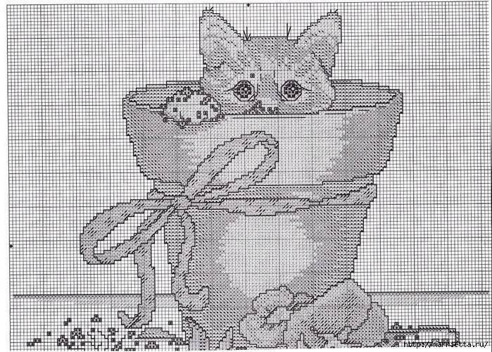 Схемы вышивки - котенок в кружке и в горшочке (13) (700x500, 397Kb)