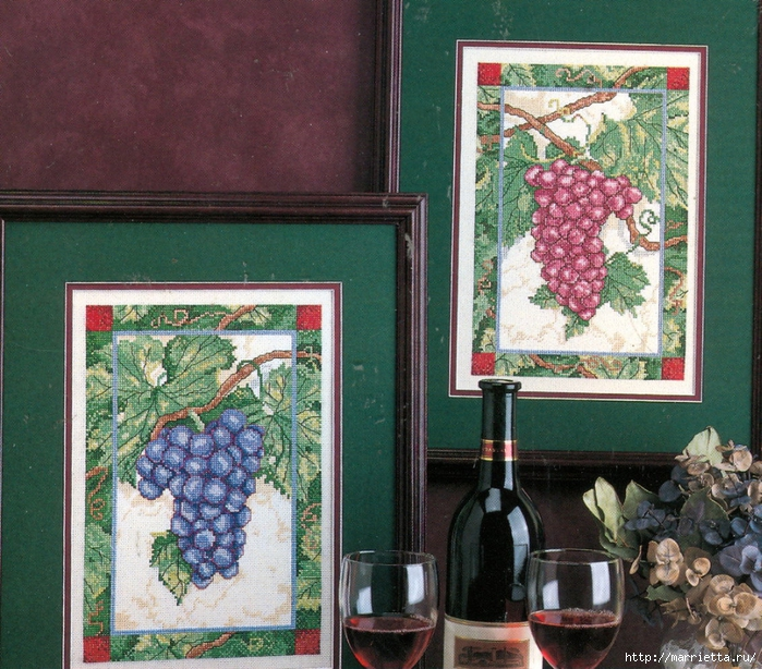 Схема вышивки крестом виноградной лозы