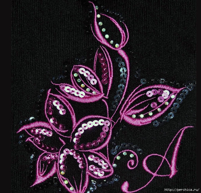 Вышивка из паеток цветок 34