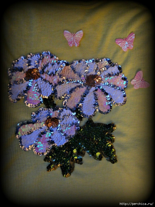 Вышивка из паеток цветок 90