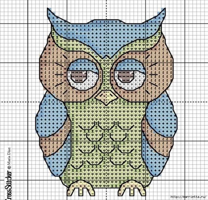 Совушки - вышиваем и вяжем крючком (12) (700x675, 457Kb)