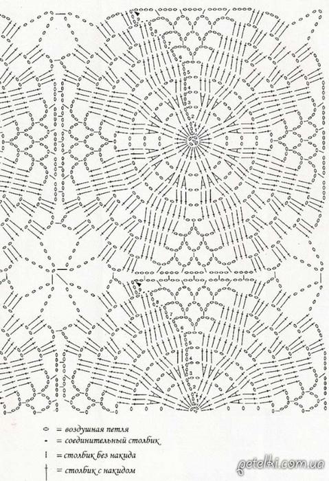Вязание крючком квадратных скатертей и их схемы 184