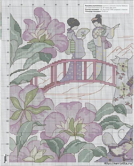 вышивка с гейшами для шкатулки (3) (563x700, 456Kb)