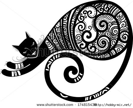 stock-vector-patterned-cat-hand-drawn-unique-vector-illustration-174815438 (450x366, 101Kb)