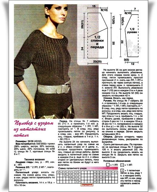 Новинки пуловеров связанных спицами 198