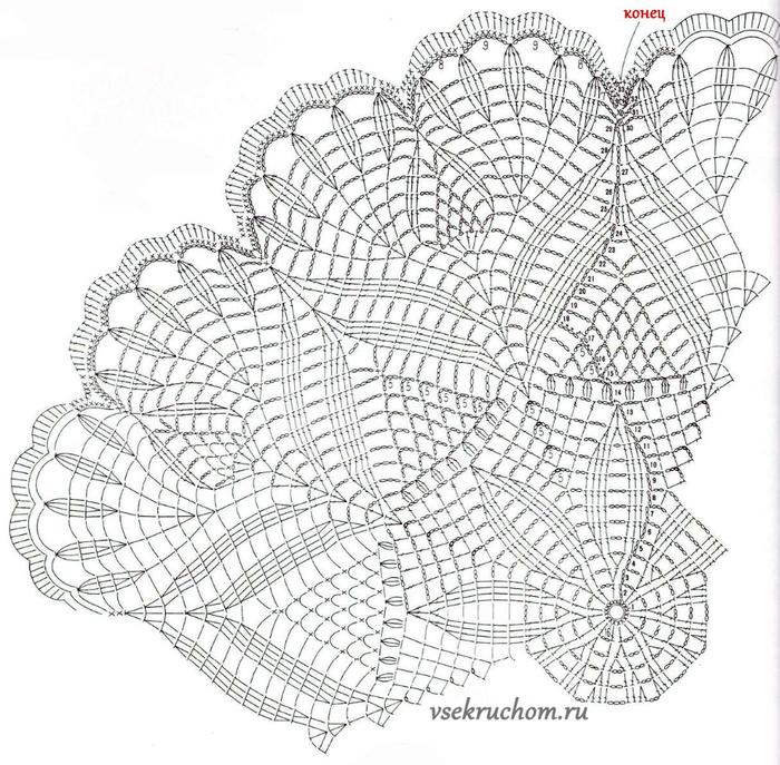 Схема салфеток крючком павлины