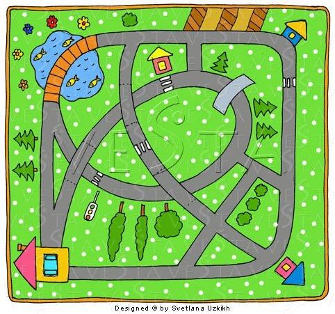 Нарисованная дорога для машинок