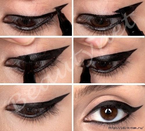 Нарисовать как красиво нарисовать стрелки на глазах подводкой пошагово