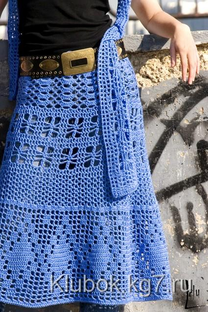расклешенную юбку крючком.