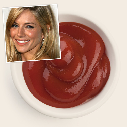 Сиенна Миллер фиксирует цвет волос  с поиощью кетчупа (500x500, 141Kb)