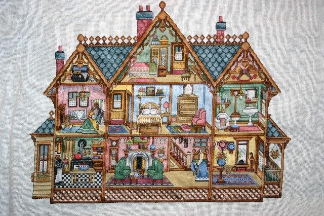 Вышивка крестом домики в разрезе схемы