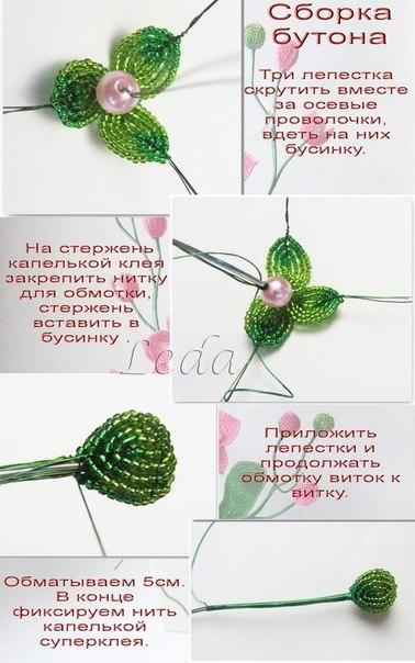 Плетение из бисера орхидея пошаговое