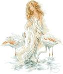 Превью Lanarte33833-Girl_with_Flamingos Девушка Рё Фламинго (400x470, 118Kb)