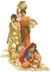 Превью Lanarte 34760-Indian_Woman 3 индианки с кувшинами (275x390, 95Kb)
