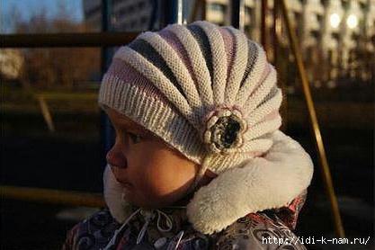 симпатичная вязаная детская шапочка, как связать детскую шапочку ребенку, как связать детскую шапочку спицами на спицах, схема вязания детской шапочки на спицах,