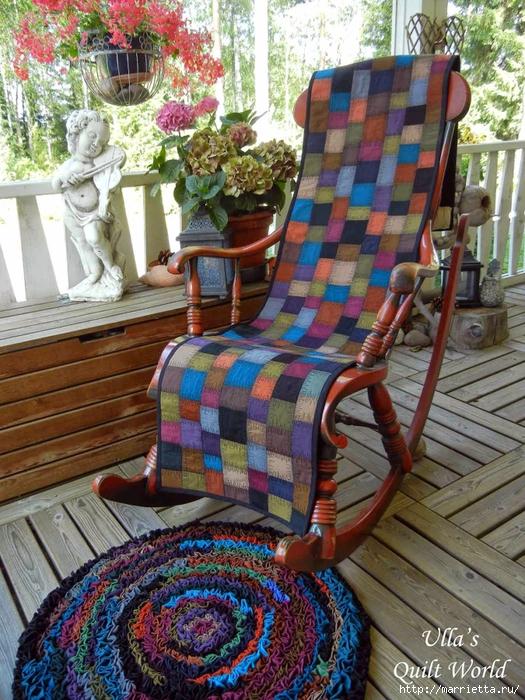 Накидка для кресла, коврик и сумочка из разноцветных лоскутков (2) (525x700, 391Kb)
