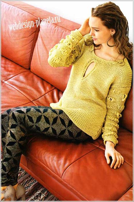 udlinennyj-pulover-spitsami-iz-lentochnoj-pryazhi-foto (466x700, 422Kb)