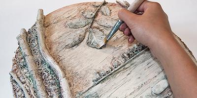 Панно из природных материалов ЛЕСНОЕ ОЗЕРО (10) (400x200, 115Kb)