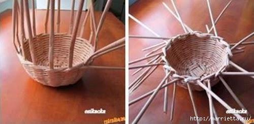 ШЛЯПКИ. Плетение из газетных трубочек (25) (500x244, 75Kb)