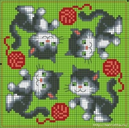 вышивка крестом кошечки (3) (454x450, 181Kb)