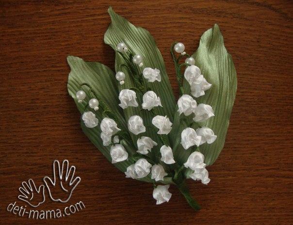 Заколки цветы. МК ландыши (604x465, 243Kb)