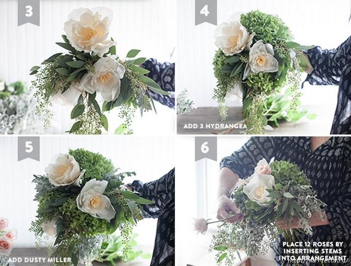 Ramo de la boda de las hojas frescas y flores de papel crepé (2) (698x529, 258KB)