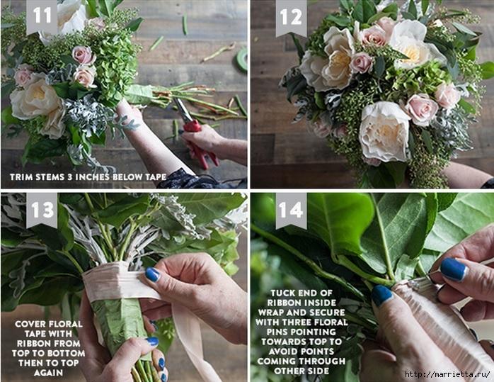 Ramo de la boda de las hojas frescas y flores de papel crepé (4) (698x539, 305KB)