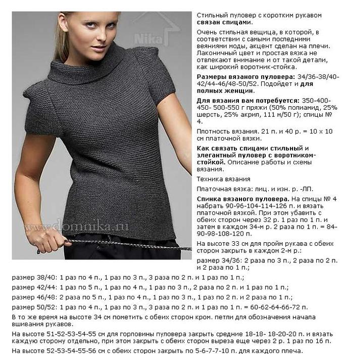 Стильное вязание для женщин спицами с описанием 71