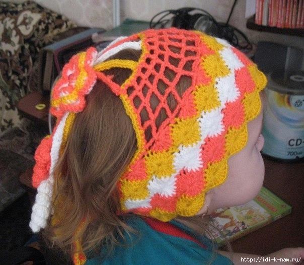 шапочка повязка для девочки, вязаная повязка для девочки,