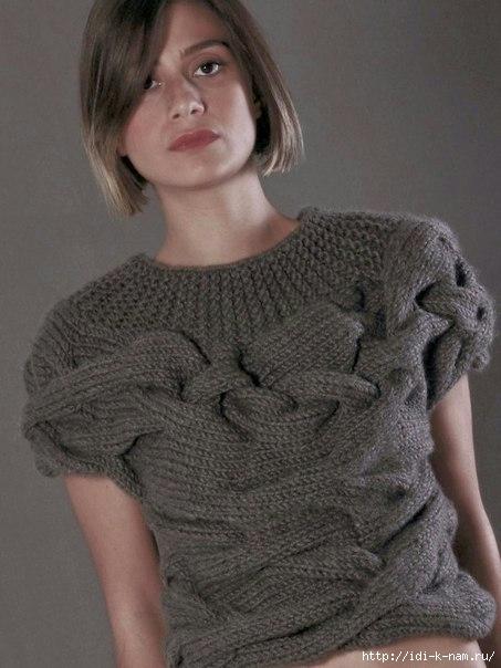 как связать пуловер с косами, схема вязания пуловера, Хьюго Пьюго рукоделие,