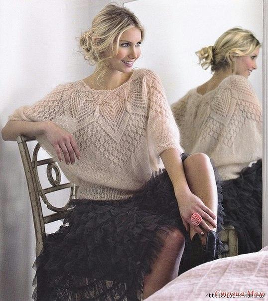 как связать красивую ажурную блузу спицами, схема вязания ажурной блузы спицами, Хьбго Пьюго рукоделие,